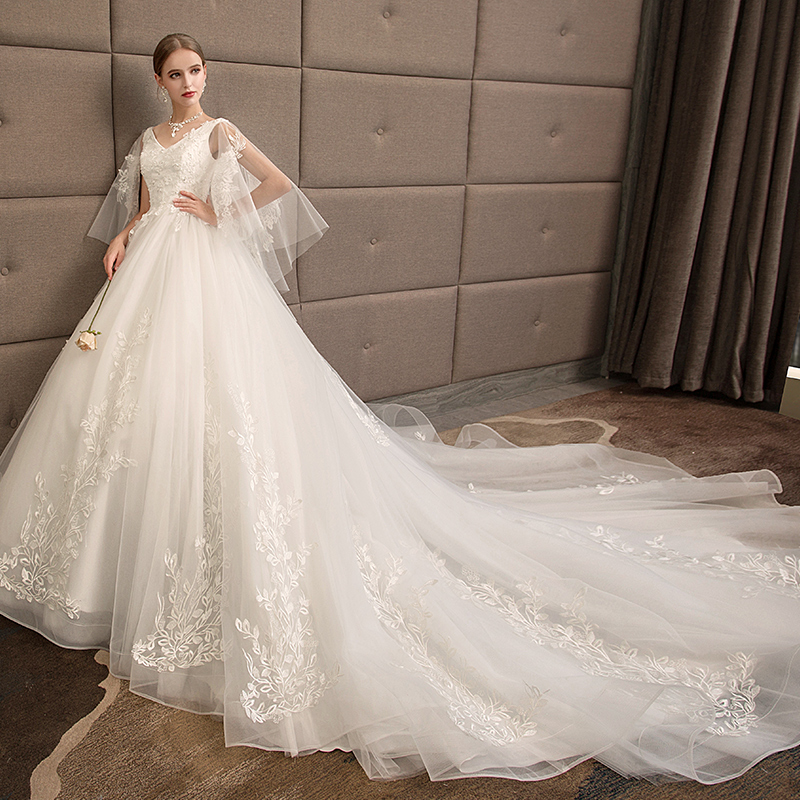 afc4bce364e Pregnant women wedding dress 2019 new bride long tail princess was thin  large size 200 kg fat mm plus fertilizer to increase