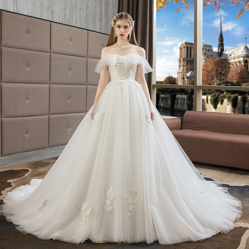 c23cda5f03c Pregnant women light wedding dress 2019 New trailing bride high waist big  code cover pregnant belly was thin Sen Department Super fairy dream simple