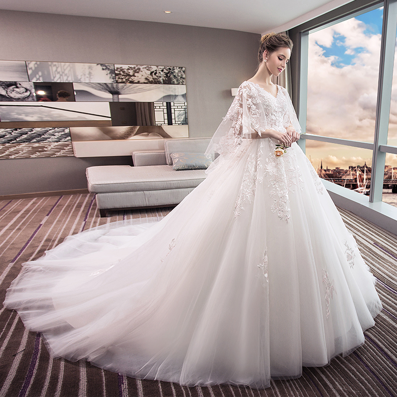73e04db6ab6 Wedding 2018 new bride dress large size was thin tail Princess dream  pregnant women 200 pounds