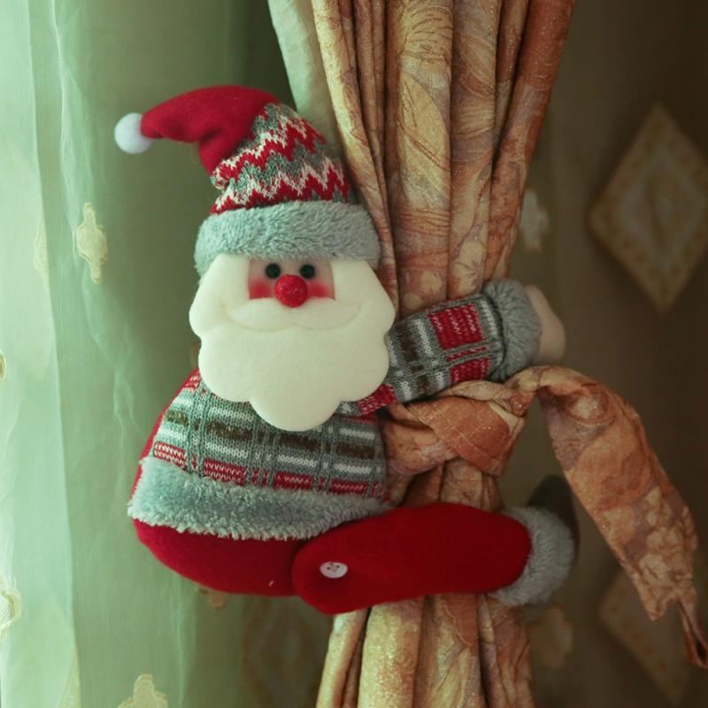 圣诞节装饰用品 家居窗帘装饰 橱窗布置饰品 卡通老人抱抱窗帘扣