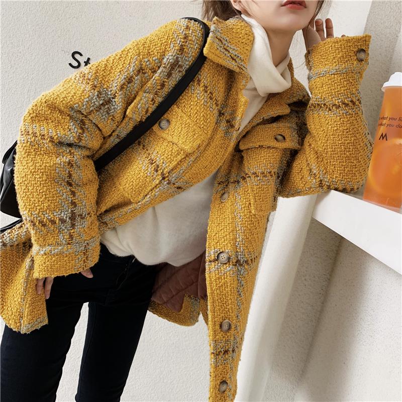 【年中大促4折】张佐佐a大衣中长款编织格纹大衣外套毛呢长袖女