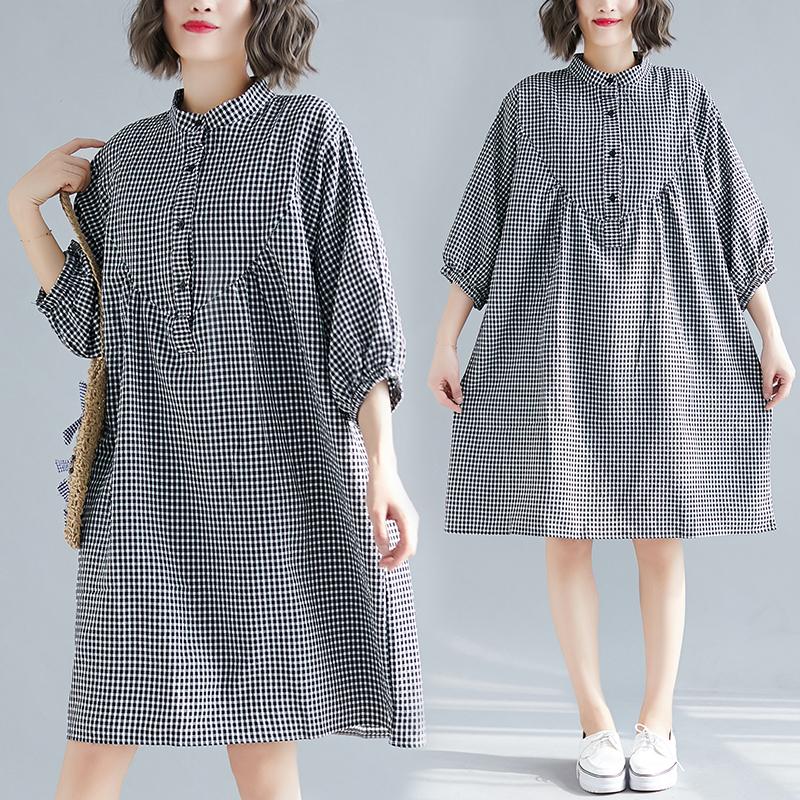 胖mm格子袖衬衫连衣裙七分新款百搭灯笼大码黑白棉麻春夏袖立领裙