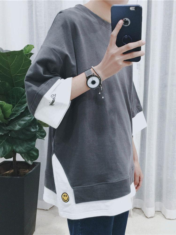夏季刺绣拼接短袖T恤男韩版宽松半袖五分袖上衣服潮流七分袖卫衣