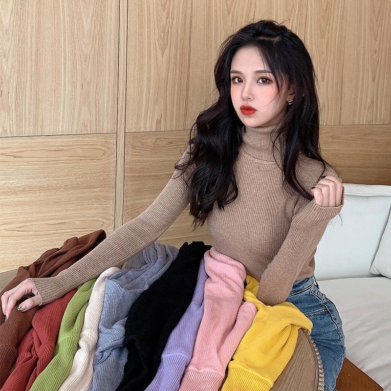 韩版高领温柔风基纯色打底衫2020秋季新款修身显瘦长袖针织上衣女