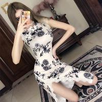 Лето 2019 новая коллекция популярный модифицированный версия Девушка подростковая фасон средней длины стиль Сплит-нога кружева Cheongsam молодых стиль Платье прилив