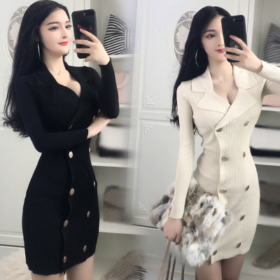 2017 new style temperament ladies temperament Slim long-sleeved double-breasted suit collar knit package hip dress tide