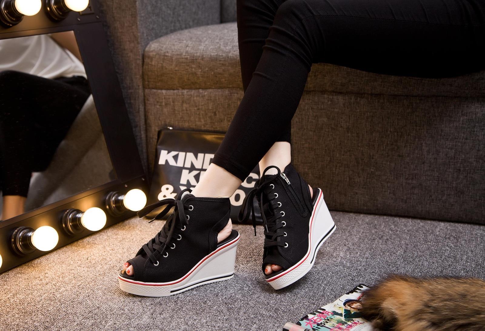 รองเท้าผ้าใบรุ่นหัวตัด เสริมสูง ซิปข้างสไตล์เกาหลี