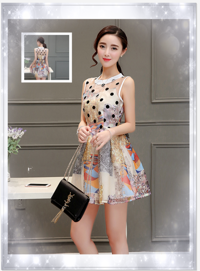 e479243118 2016 Summer new ladies Korean short-sleeved organza dress Slim was thin  doll collar printing · Zoom · lightbox moreview · lightbox moreview ...