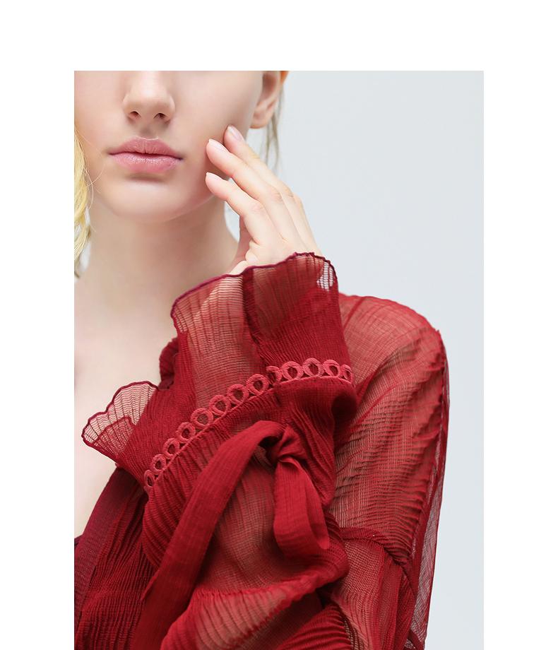COCOBELLA rượu vang đỏ xếp li voan áo sơ mi nữ dài tay ren khâu xếp li cổ áo sơ mi KT236