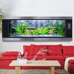 欧宝 鱼缸水族箱 挂壁宝石蓝拉丝 大中型挂墙相框玻璃造景定做