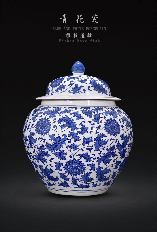 Blue and white porcelain of jingdezhen ceramics caddy fixings pu - erh tea loose tea tea cake large storage tank moistureproof household storage tank