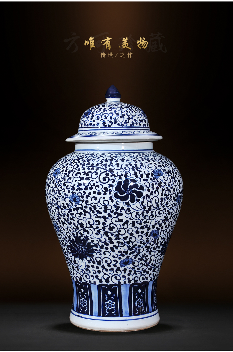 Jingdezhen ceramic vases, large blue and white porcelain antique Chinese style living room place to live in the sitting room room floor decoration