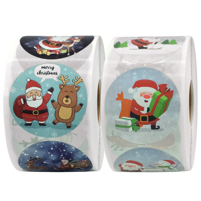 500 Post new red 3.8 cm old man and elk Christmas gift party gift packaging decoration label