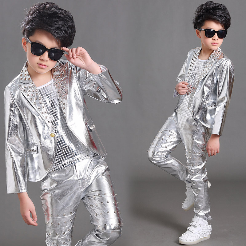 Boys Jazz Dance Costumes Children's dance performance clothes boys' long sleeve Silver Stud coat children's street dance jazz dance chorus performance clothes