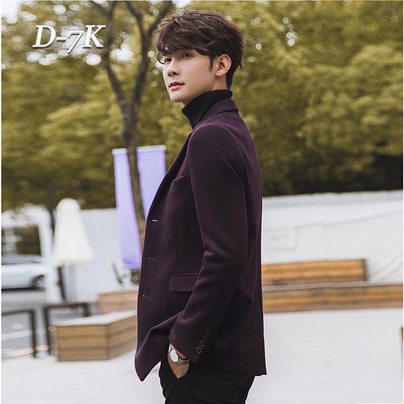 2017秋冬男士休闲羊毛西装韩版修身毛呢大衣帅气短款青年西服外套