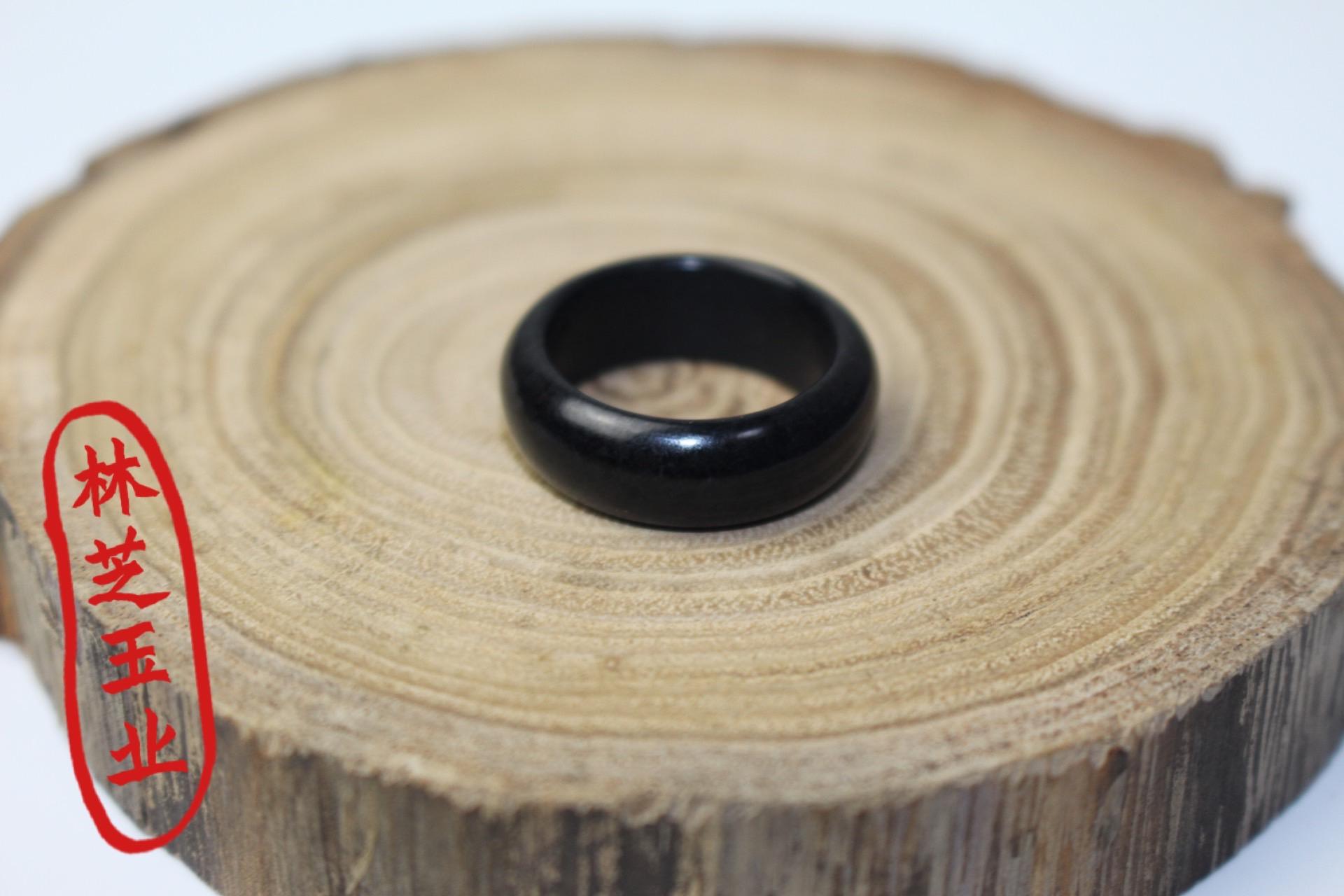 巨漏和田玉墨玉戒指指环扳指全墨聚黑素面戒圈纯天然尾戒复古简约