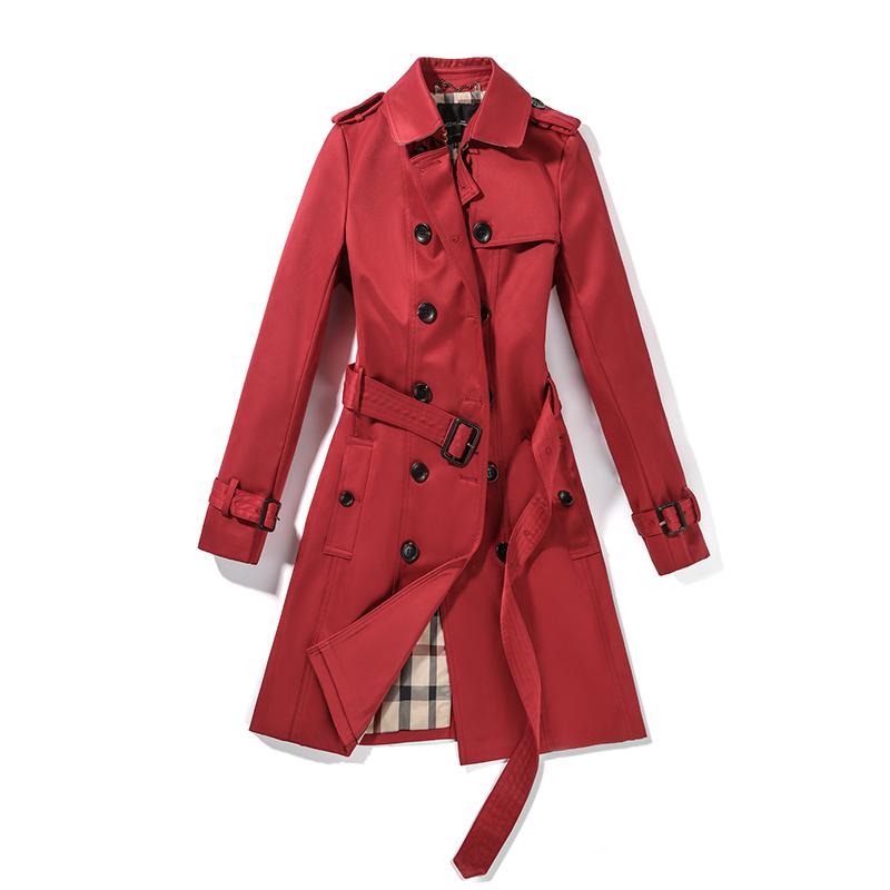 五色鸟ins的切尔西版风衣 双排扣风衣女中长款卡其色修身显瘦收腰