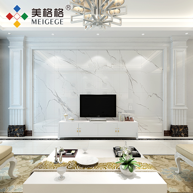Meige Tv Background Wall Tile Living Room Imitation Marble Roman Column Border European Style Film Decoration