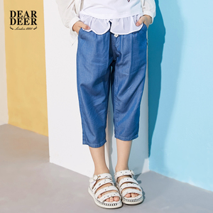 Didi hươu cô gái trong quần short 2018 mùa hè mới lớn trẻ em trẻ em giản dị thoải mái jeans năm quần