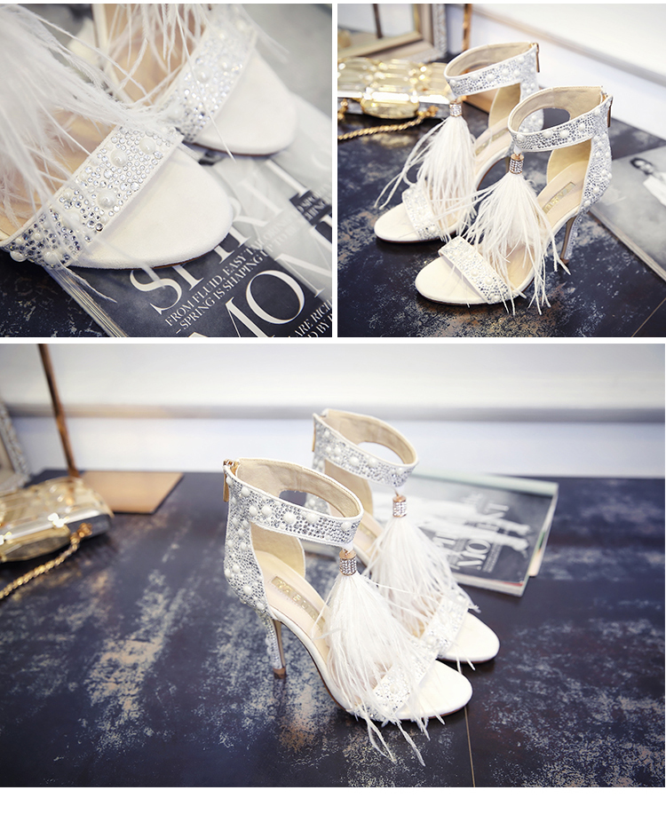 Genuine Leather Women Sandals Summer Shoes High Heels Brand Fur Rhinestone Feather White Woman Wedding Shoes Heels Plus Size 36 16