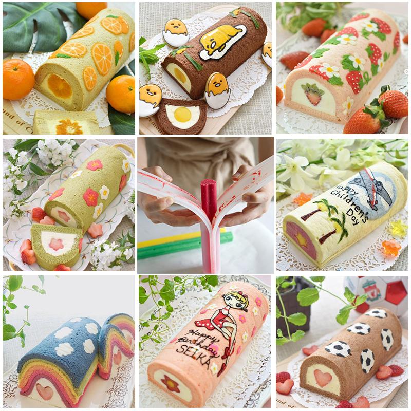 Round Love Plum Blossom Handmade Soap Silicone Tube Khuôn Khuôn ống dài 32CM Bánh cuộn Khuôn vẽ Pad - Tự làm khuôn nướng
