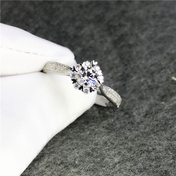 Wenhuan Jewelry 18k White Gold Flower Diamond Ring Group Of Natural