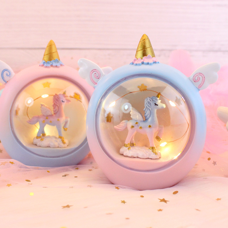 ins girl heart lamp pink lamp net red led birthday gift decoration small unicorn night light gift box