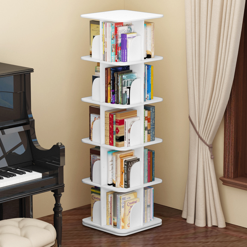 360 degree rotating bookshelf student desk simple rack multi-layer CD floor  creative children's bookcase with storage