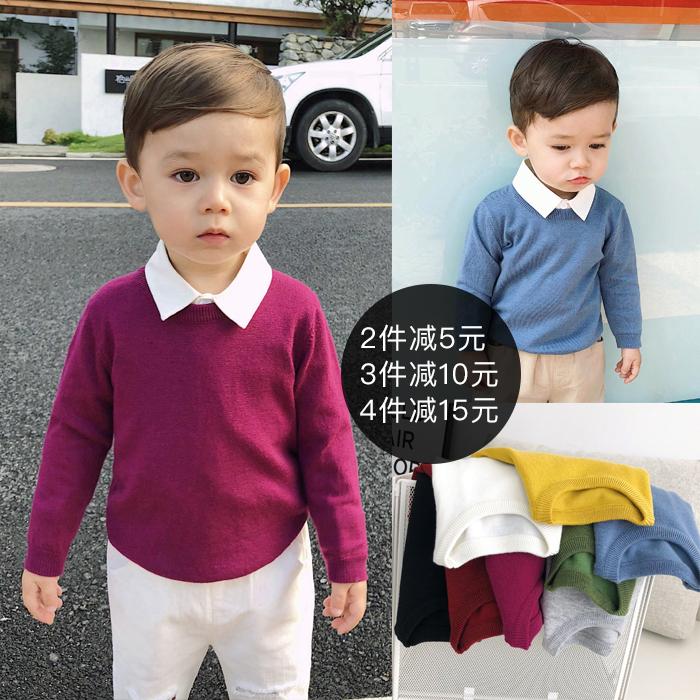 辰辰妈婴童装男童毛衣打底衫秋装宝宝圆领纯色针织衫儿童长袖上衣