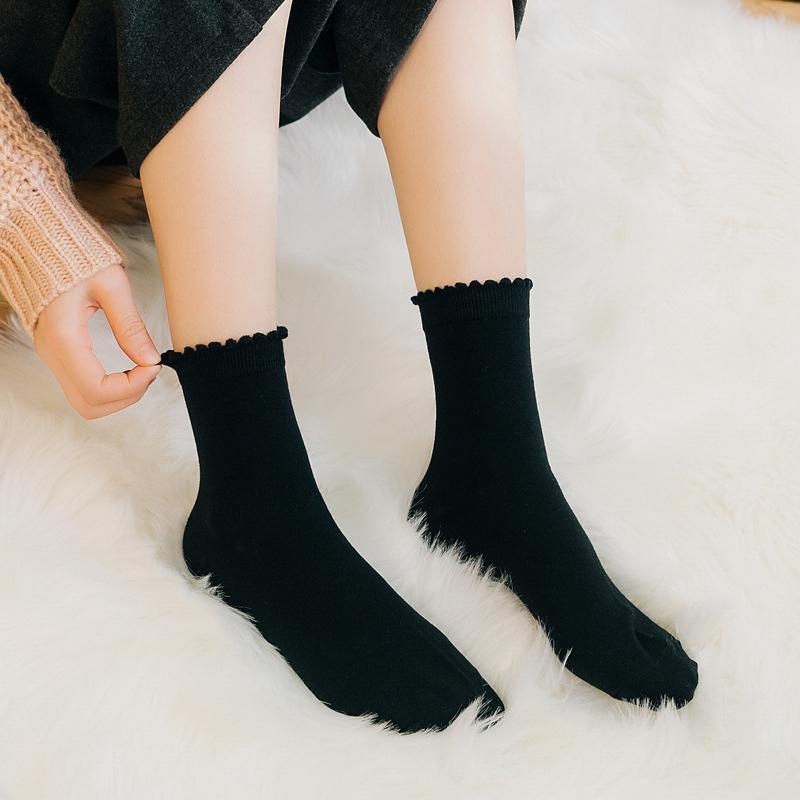 日系花瓣花边纯棉女袜原宿复古短袜韩版森系学院风可爱中筒袜子女