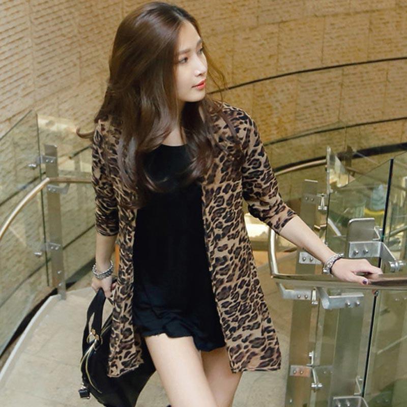 中长款外搭女长袖夏季大码网纱空调时尚衫薄款豹纹披肩开衫防晒衣