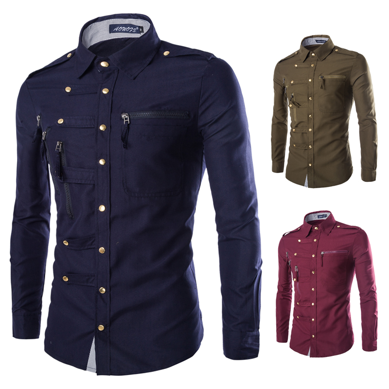 Military style slim fit brand long sleeve shirt for men for Mens military style long sleeve shirts
