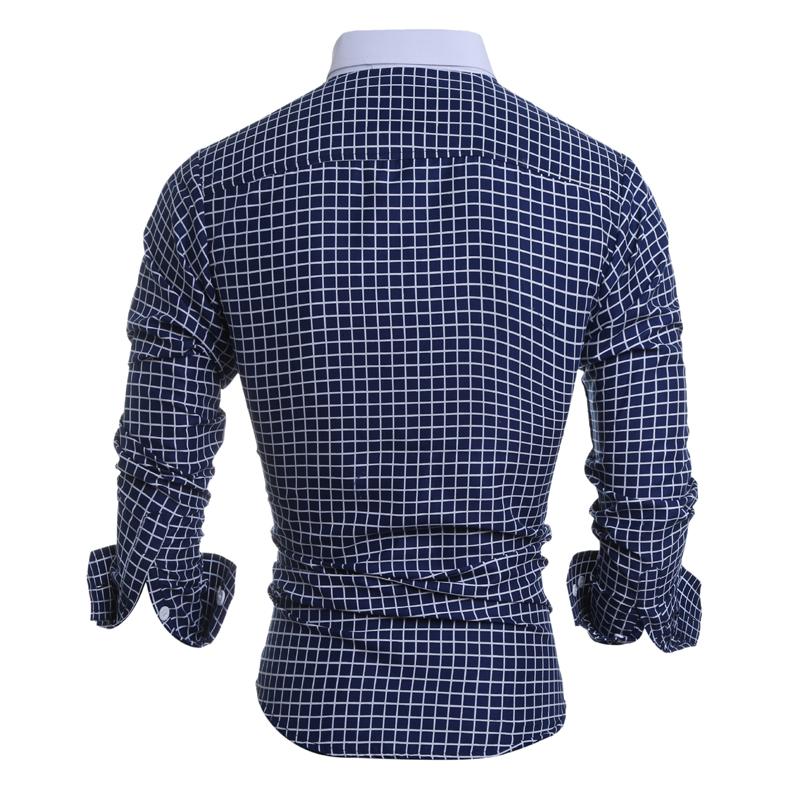 Mens Classical Plaid Pattern Dress Shirt Casual Button