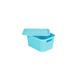 爱丽思彩色藤编收纳箱有盖塑料收纳