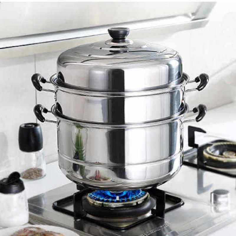 加厚复底二层三层不锈钢蒸锅家用不锈钢锅双层汤锅蒸馒头包子锅具