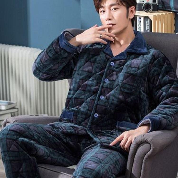 【新品冲量 亏本800件】冬季睡衣男加绒加厚中老年法兰绒保暖套装