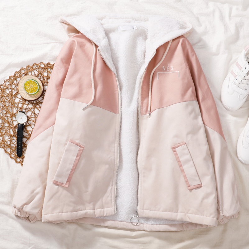 2021年秋季款棉服外套棉学生女韩版宽松bf百搭学院风加绒加厚工装