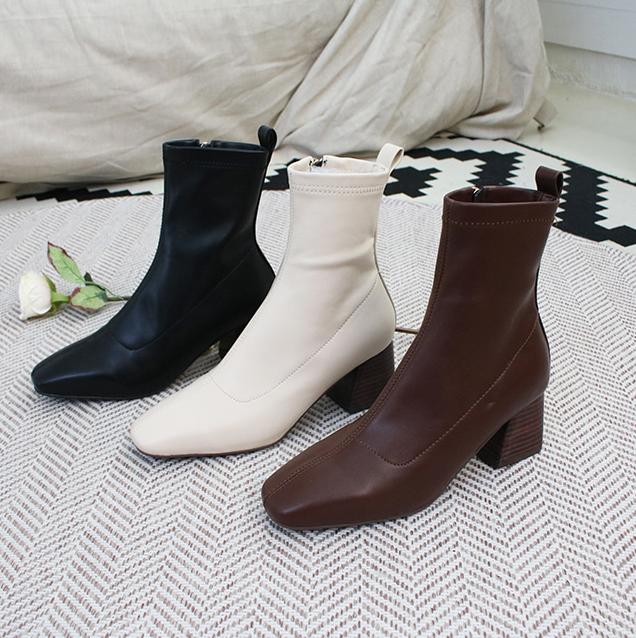 韩国东大门弹力木纹拉链显瘦侧女鞋欧美靴粗跟时尚跟短靴马丁靴潮