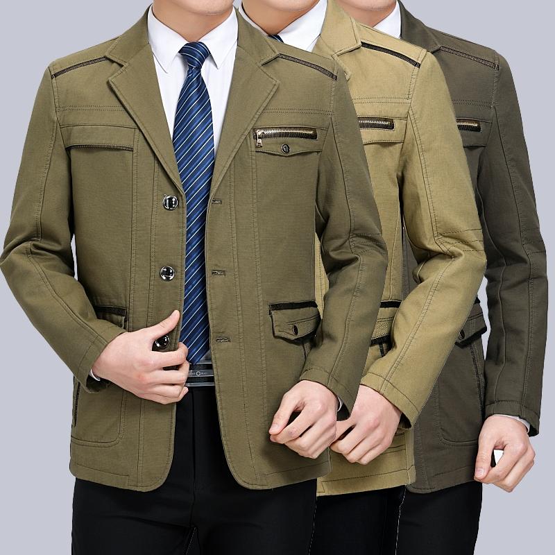 男士春秋中年纯棉西装领中厚外套装爸爸中老年男装夹克衫v男士上衣