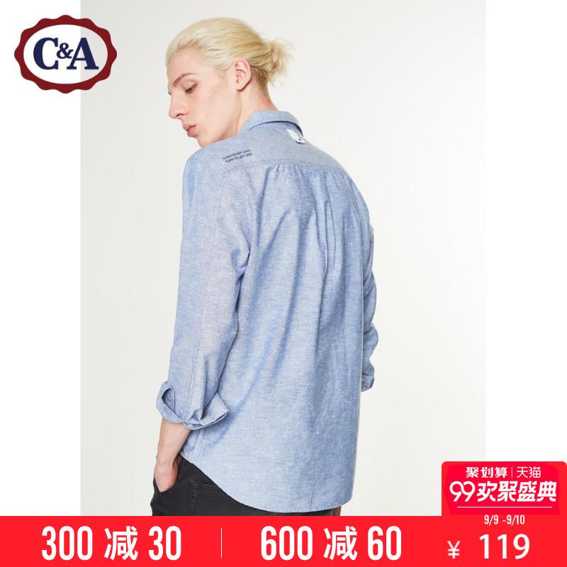 C & A sợi-nhuộm ve áo áo sơ mi nam 2018 đầu mùa xuân mới cotton slogan in ấn áo CA200200329
