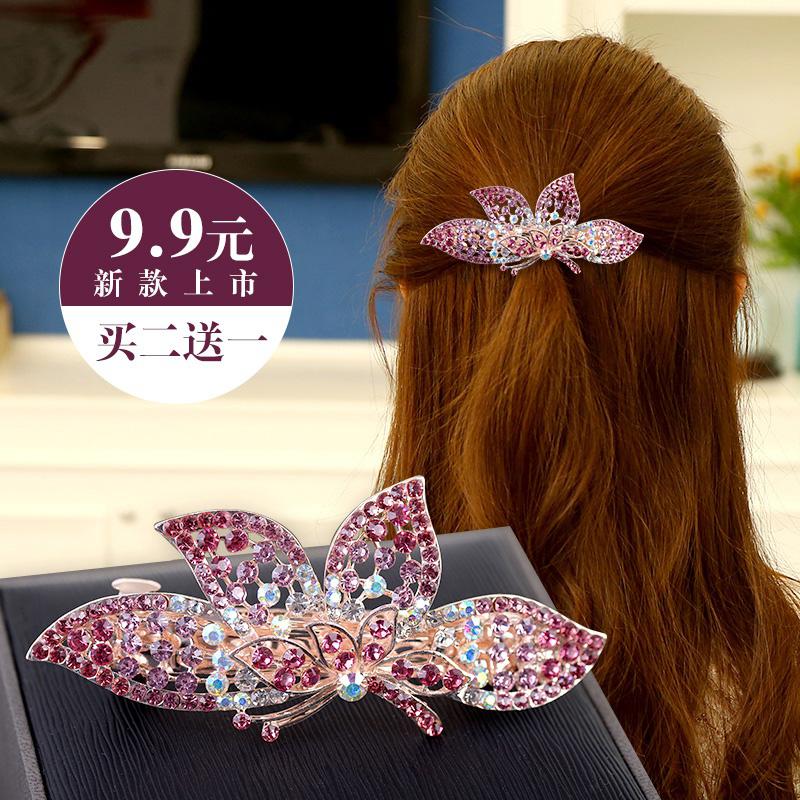 饰品韩国头发水钻弹簧后脑勺蝴蝶结夹子发卡大号顶夹盘发夹发饰