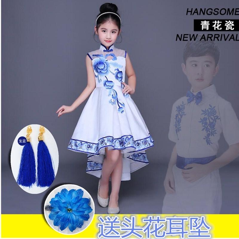 古筝演出服中国风男女青花瓷古典六一儿童节诗歌朗诵比赛大合唱服
