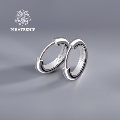 海盗船银饰新款耳圈简约银耳环女气质韩国个性百搭耳坠冷淡风耳钉
