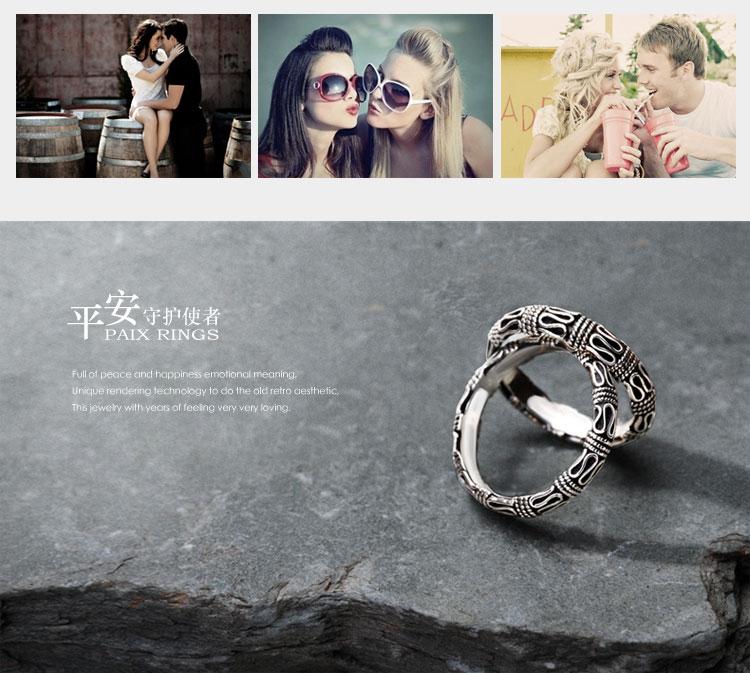海盗船925银戒指平安纹魔戒复古情侣对戒指男女食指饰品个性刻字商品详情图