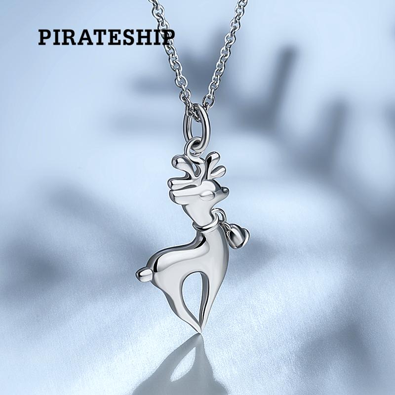 海盗船银饰戴银铃铛的圣诞驯鹿项链 日韩锁骨链 时尚简约女银项链
