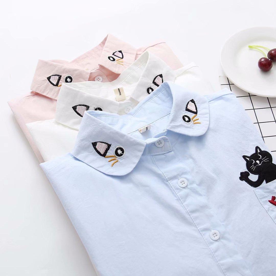 日系小清新春秋学院风可爱猫咪刺绣软萌妹闺蜜中学生少女衬衫上衣