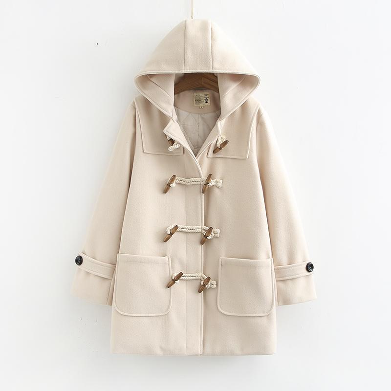 Áo khoác len có nút len nữ giữa mùa thu 2019 mùa thu và mùa đông phiên bản phổ biến của Hàn Quốc về áo khoác len nhỏ cho học sinh dày - Áo len lót đôi