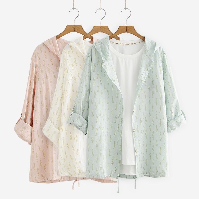 小清新森女系夏季薄款棉麻防晒针织衫开衫宽松显瘦学生女短款外套