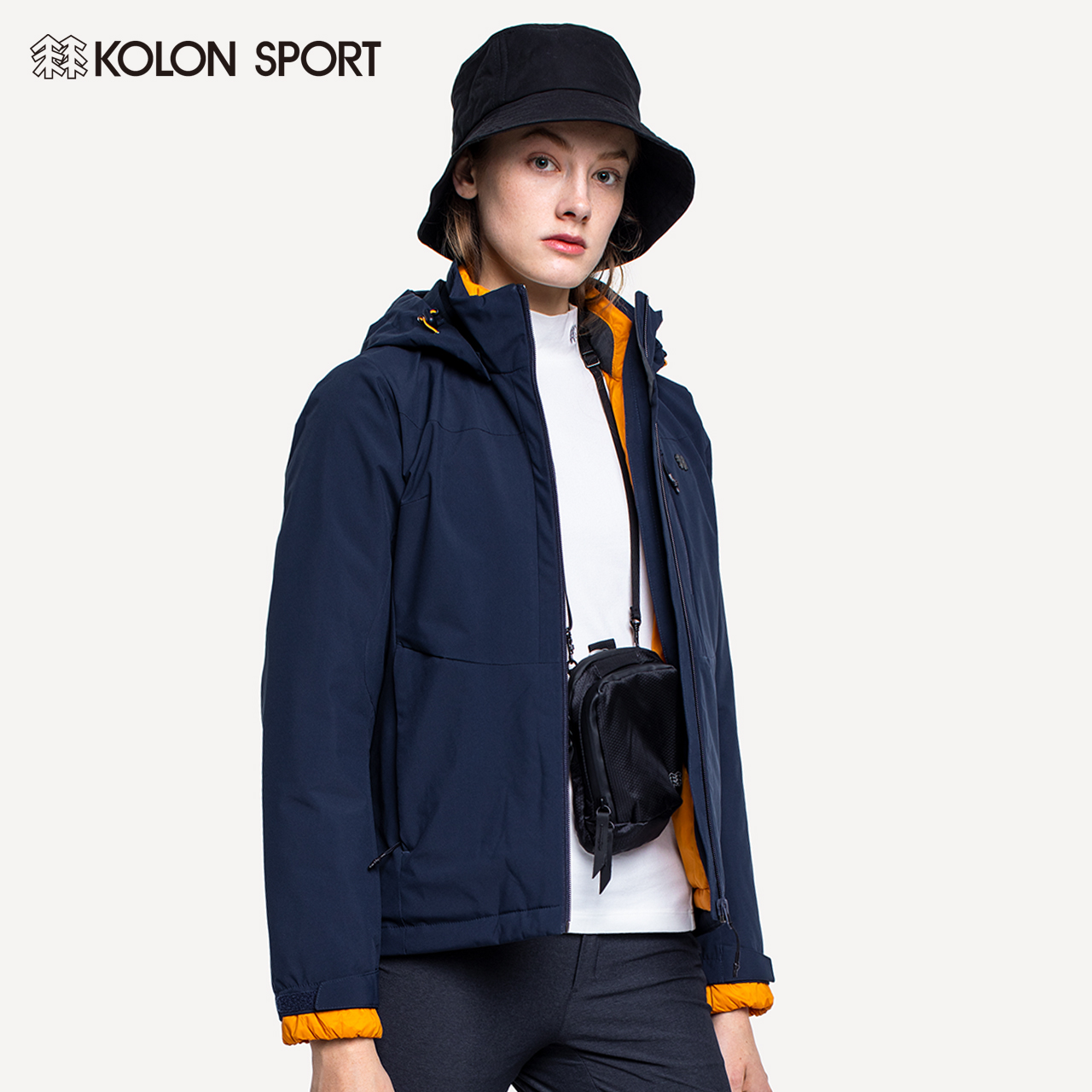 KOLONSPORT Coron stormdress women's three-in-one autumn and winter down-down inner bile storm jacket warm jacket