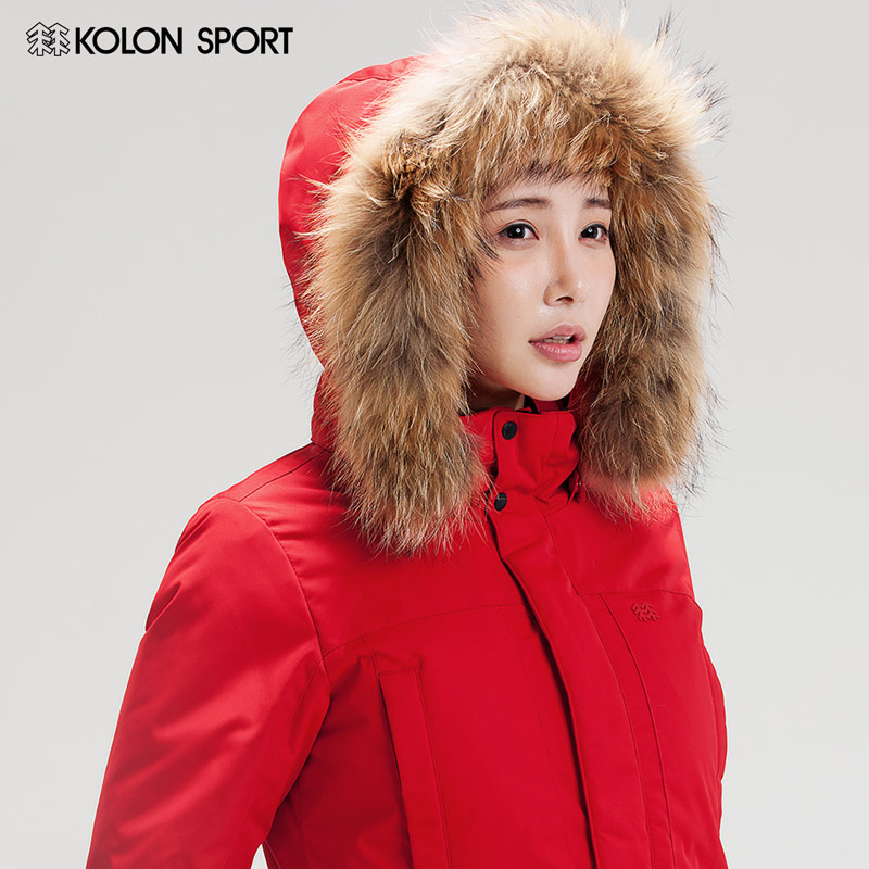 KOLONSPORT can be long down jacket women in the long section of 600 large goose feather collar thick goose down jacket Jacket